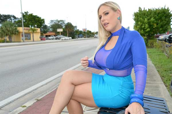 MILF Angel Allwood Gets Her Pussy Out In Public